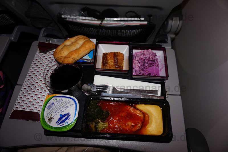 Essen von Qatar, Flug Madrid nach Doha