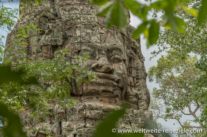 Turm mit Bayon Gesichtern im Ta Prohm Tempel
