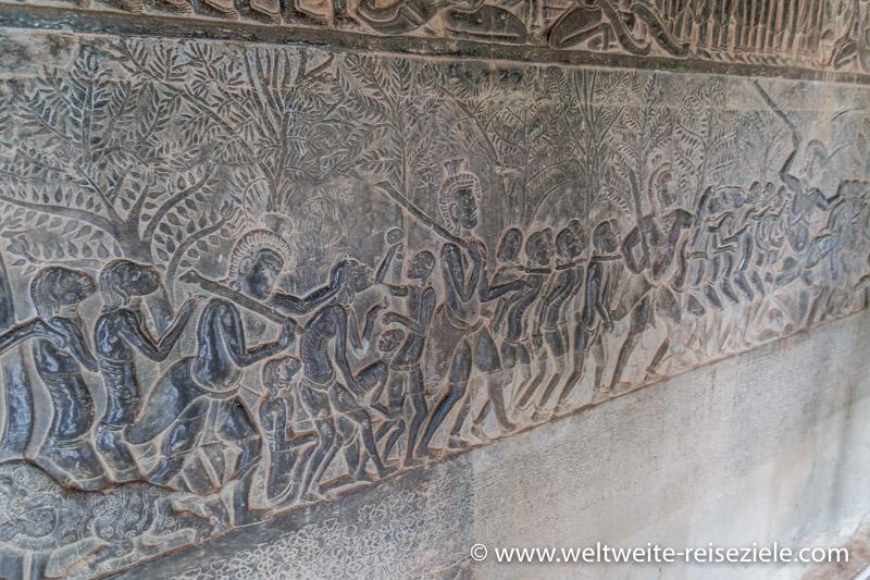 Steinreliefs im Angkor Wat Tempel