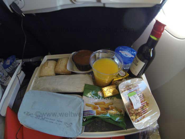 Airfrance Essen auf dem Flug nach Havanna