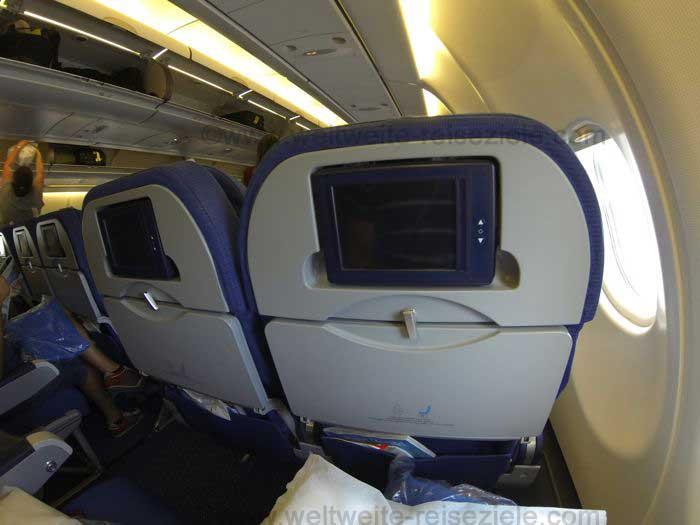 Sitzmonitor Airbus A330 KLM auf dem Flug von Havanna nach Amsterdam