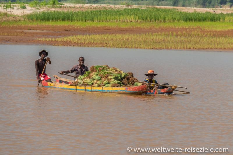 Bunter Einbaum mit Einheimischen, mit Reissprösslingen am Fluss Tsiribihina