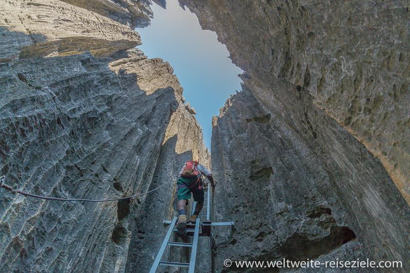 Letzter Aufstieg auf Leiter zum Aussichtspunkt, Tsingy de Bemaraha