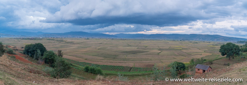 Ebene im Hochland von Madagaskar mit Reisfeldern