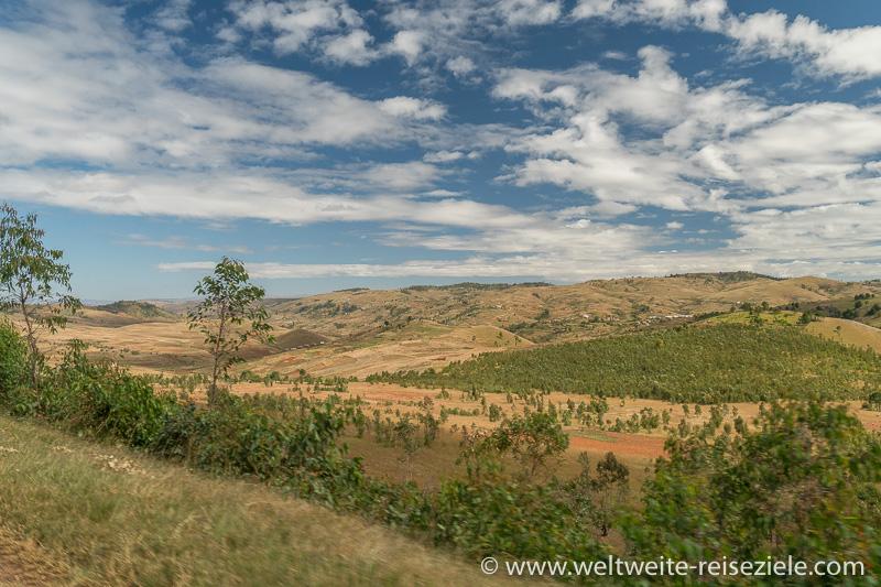 Breites Tal der Hochebene von Madagaskar, Graslandschaft und kleine Wälder vor Ivato