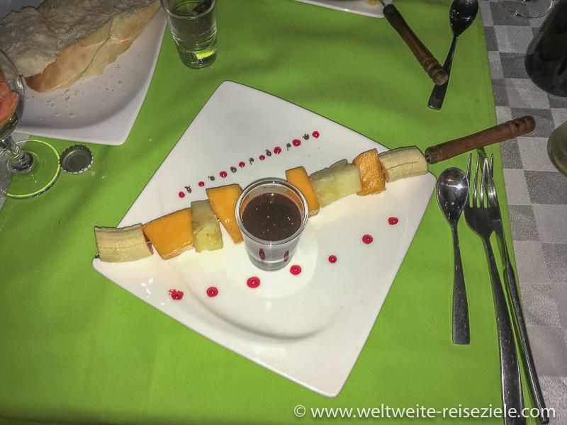 Früchte Spiess, Nachtisch, Hotel Karibotel, Madagaskar