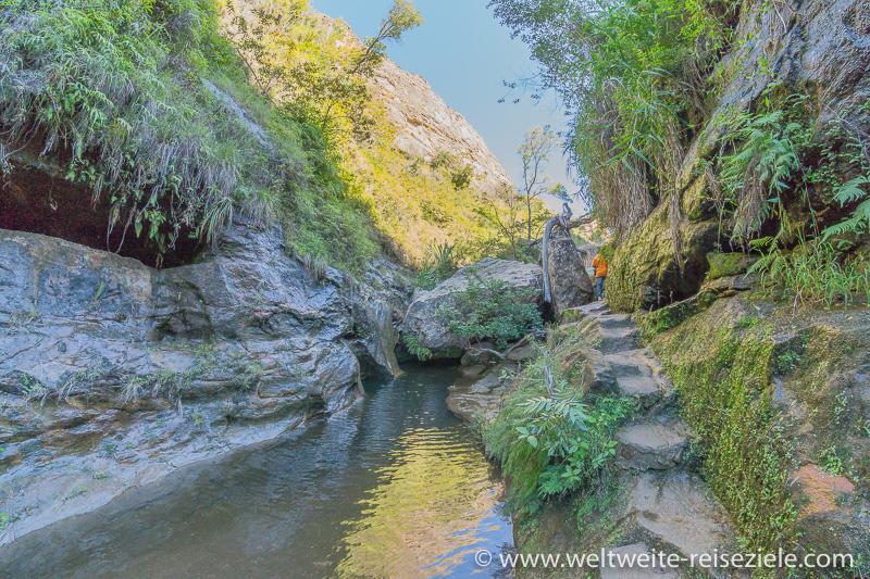 Schön angelegter Wanderweg am Bach entlang im Canyon, Nationalpark Isalo