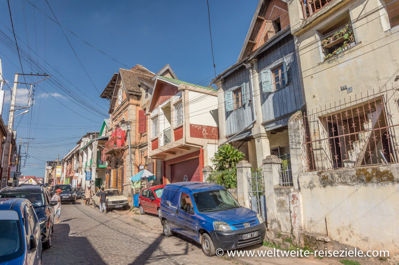 Typische madagassische Häuser in der Hauptstadt Antananarivo