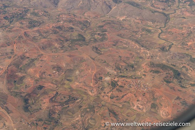 Landschaft, Landeanflug auf Antananarivo