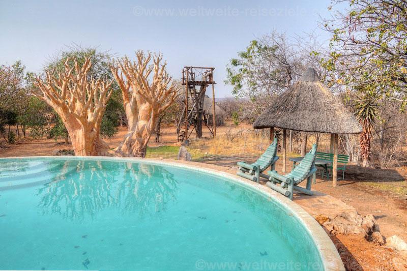 Pool und Aussichtsplattform der Otjitotongwe Geparden Guestfarm
