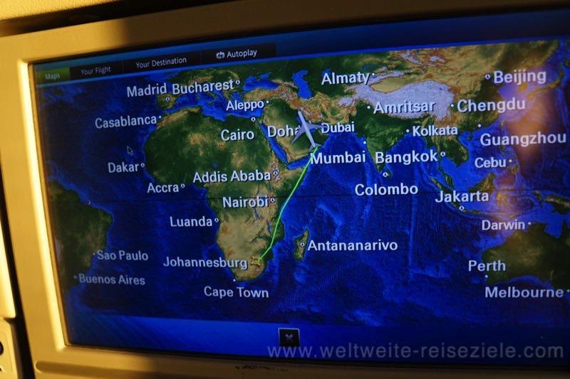 Flugplan, Flug Qatar von Johannesburg nach Doha