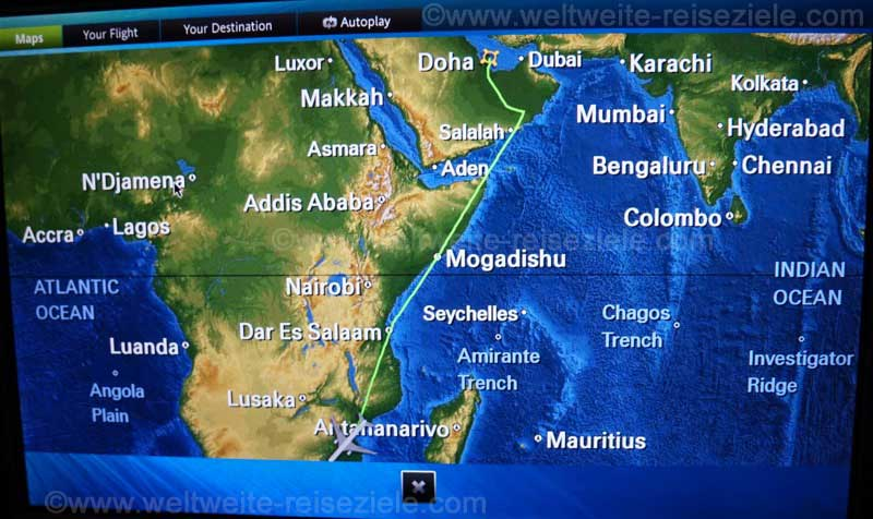 Flugstrecke, Doha Johannesburg mit Qatar