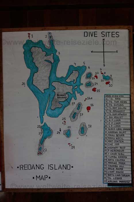 Karte der Tauchreviere von Redang