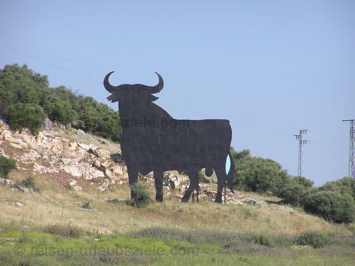 Den bekannten Stier sieht man überall im Urlaub